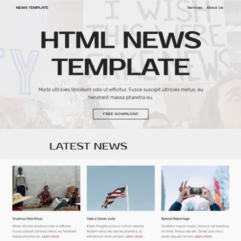 HTML News Template – Free Download