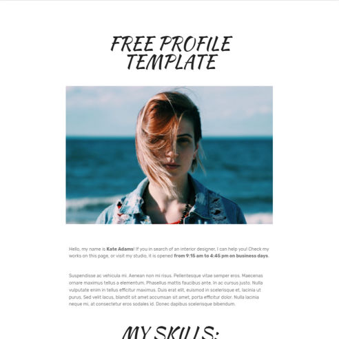 HTML Profile Template – Free Download