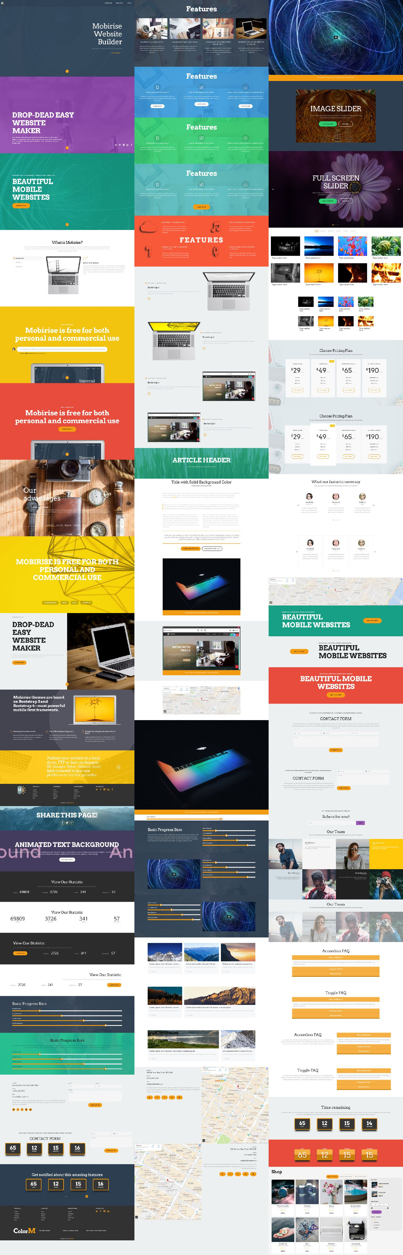 Image of all Blocks available in Bootstrap Responsive Template