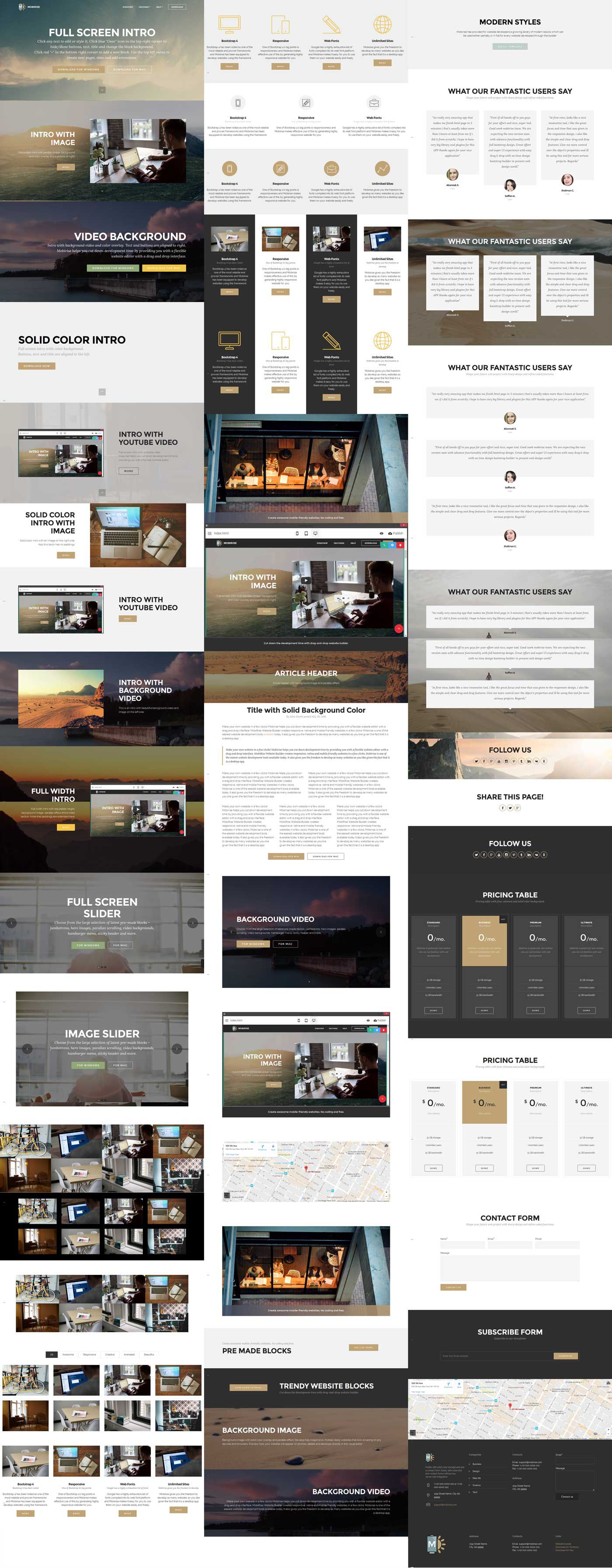 Image of all blocks in Free Bootstrap Template