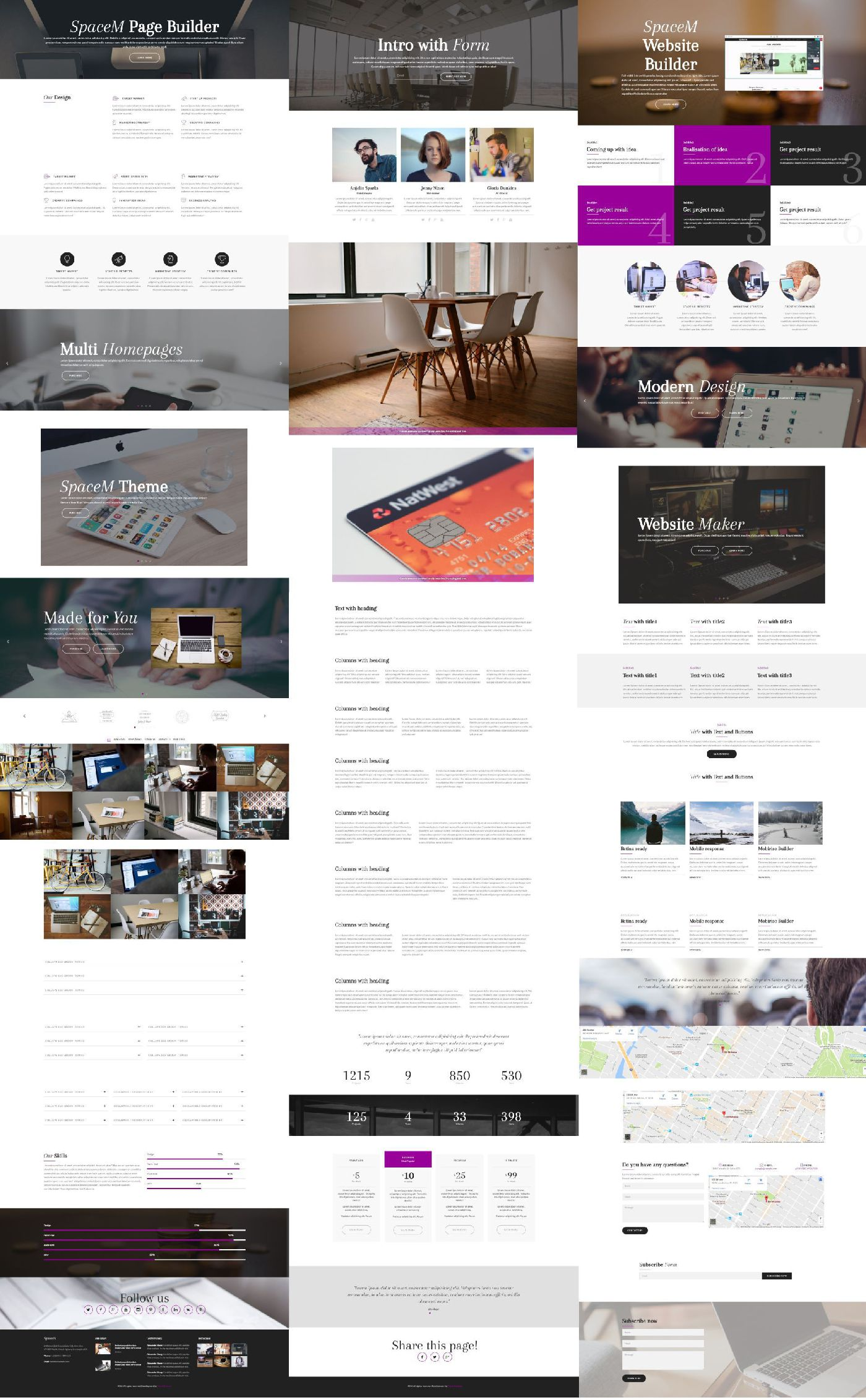 Image of all Blocks available in SpaceM Bootstrap HTML Template