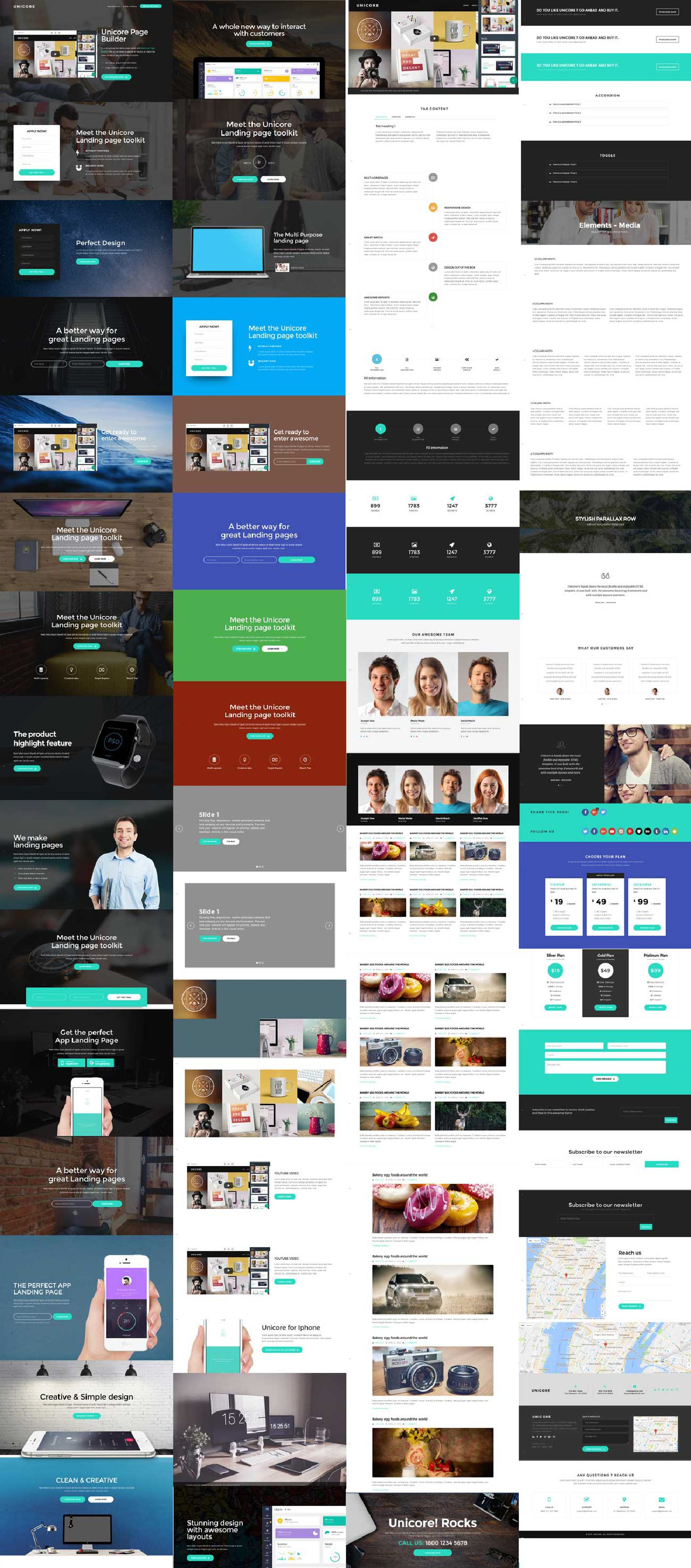 All blocks of unicore Bootstrap One Page Theme