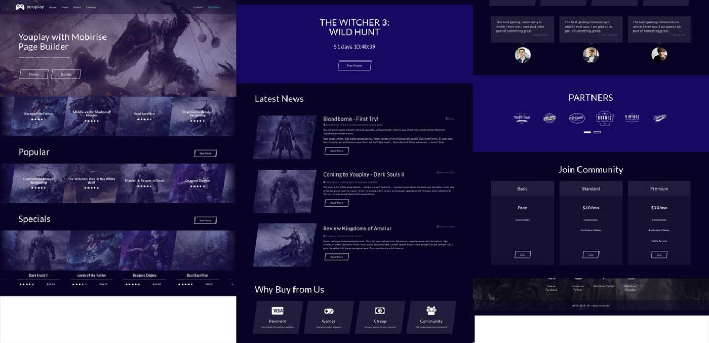 All blocks of Youplay Bootstrap Basic Template